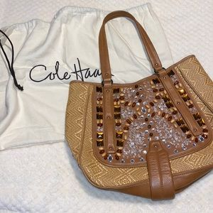 Used once, Cole Haan, Jeweled, Straw & Leather Bag